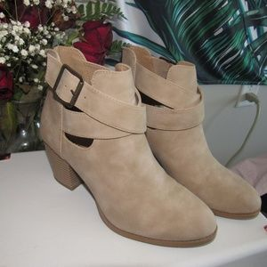 Tan Leather Booties from Charlotte Russe